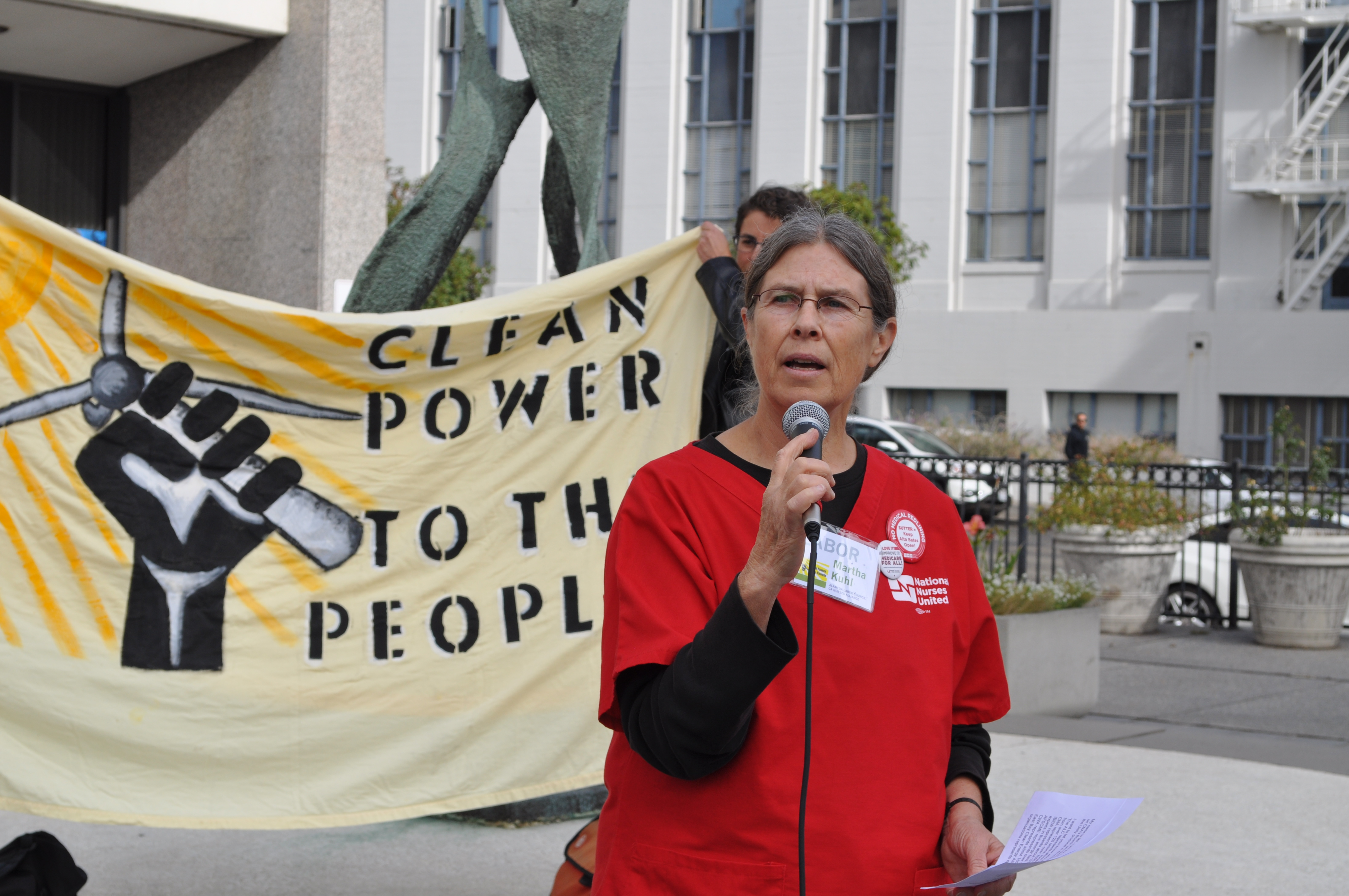Martha Kuhl, First Vice President of Labor Council outside Board of Supervisors' meeting
